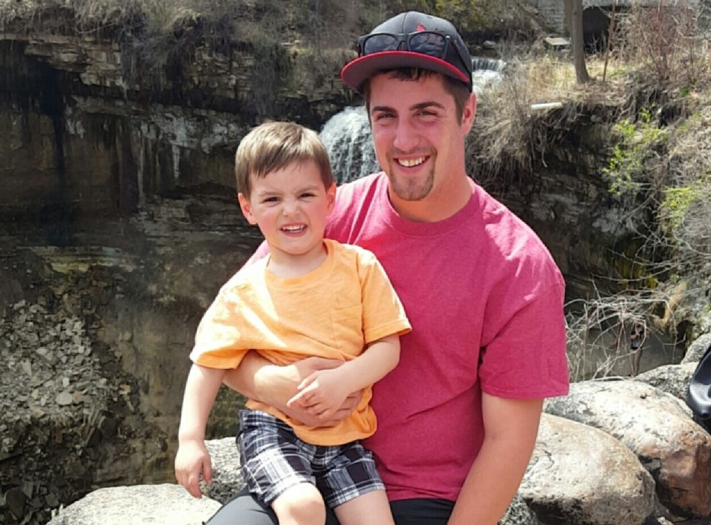 Alex Geisinger and his son, Owen.