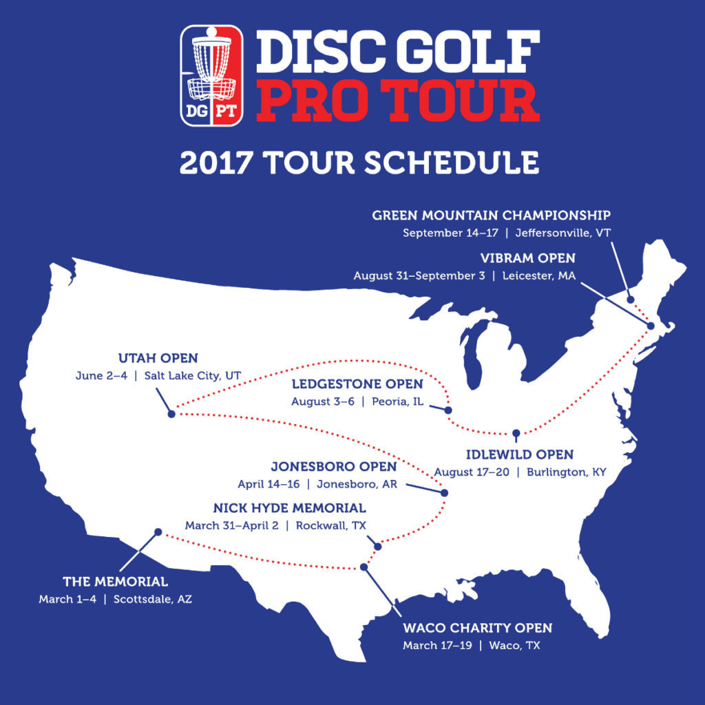 The Disc Golf Pro Tour rolled out its 2017 schedule. Photo: DGPT