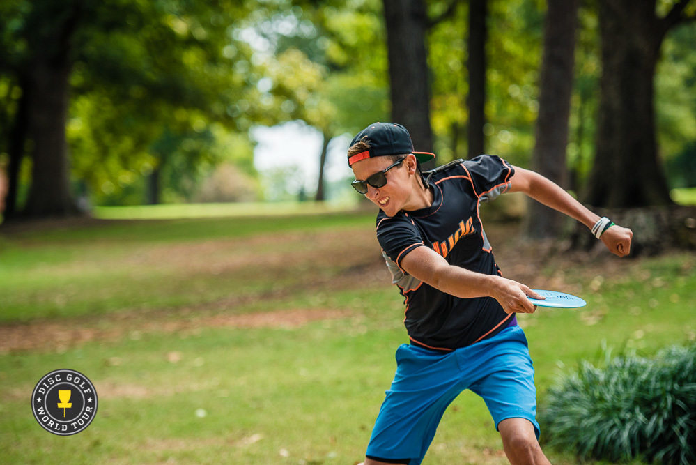 Eagle McMahon's 8-under par 57 found him tied for the lead after round one at the United States Disc Golf Championship in Rock Hill, South Carolina. Photo: Eino Ansio, Disc Golf World Tour